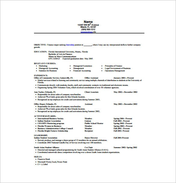 finance internship resume pdf free download