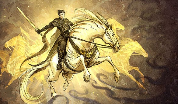 golden horse fantasy art design