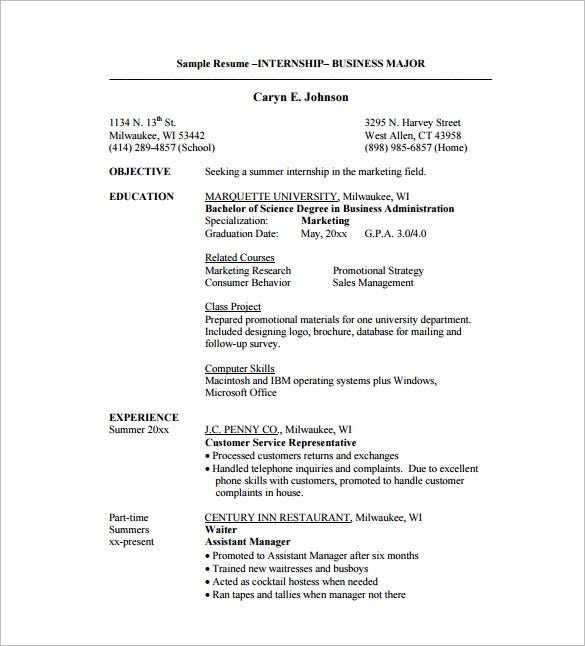 internship resume template 11 free word excel pdf