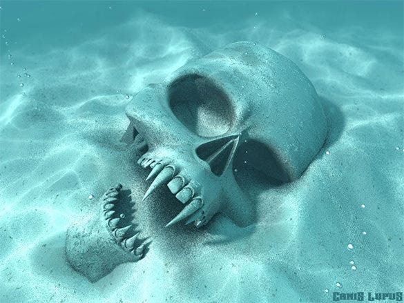 skull under water fantasy art design