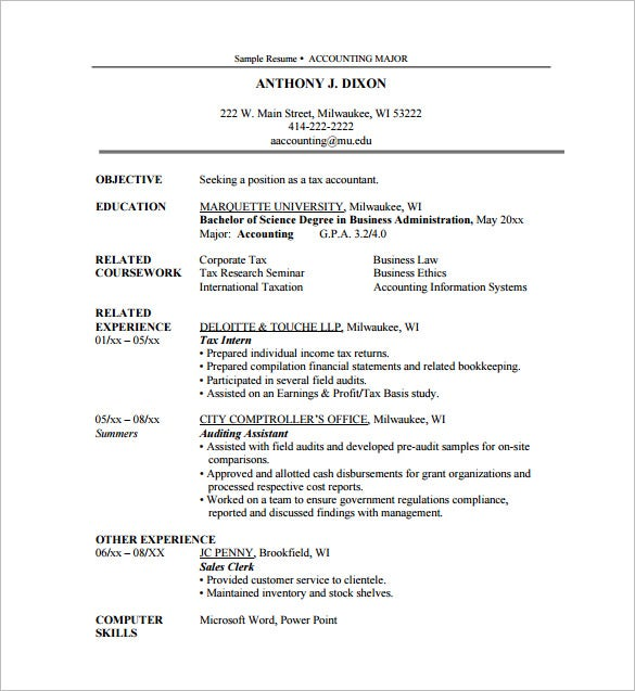 accounting internship resume pdf free download