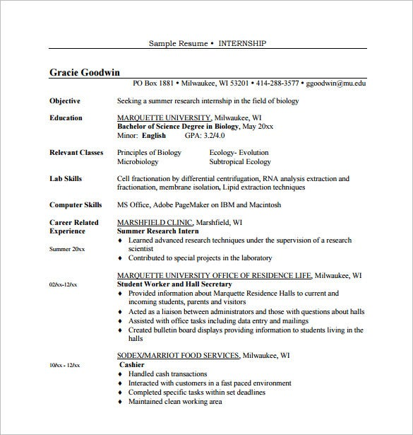 career objective internship resume pdf free download