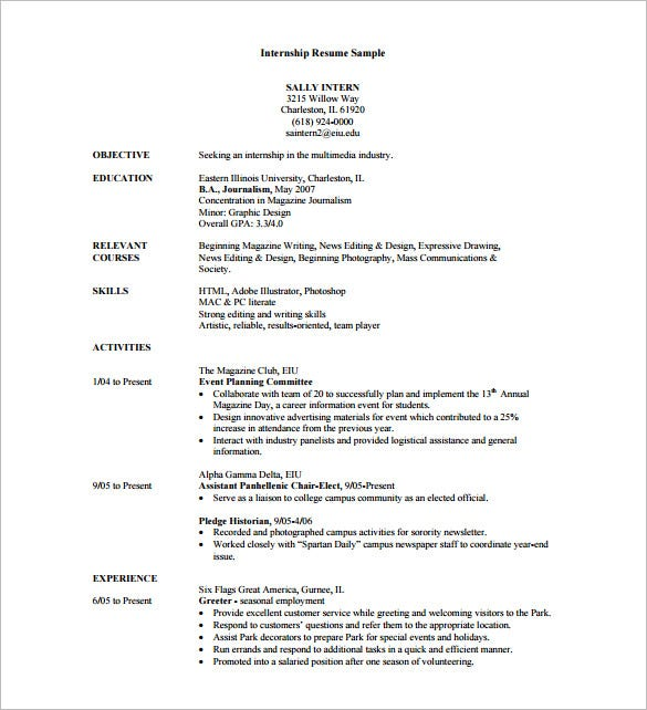 sample resume for internship - Resume For Internship Example