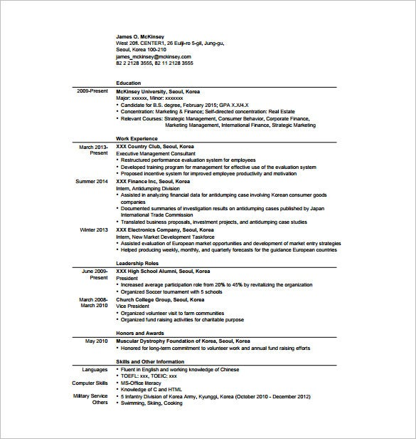 Resume Templates Consultant  Template