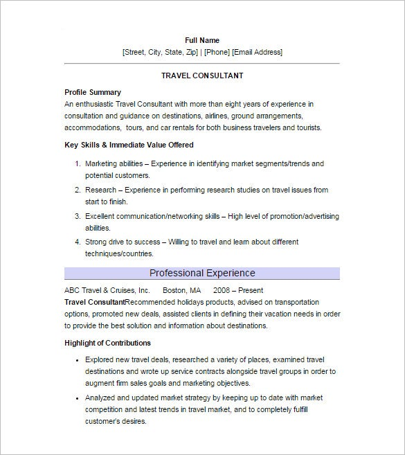 travel consultant resume template download