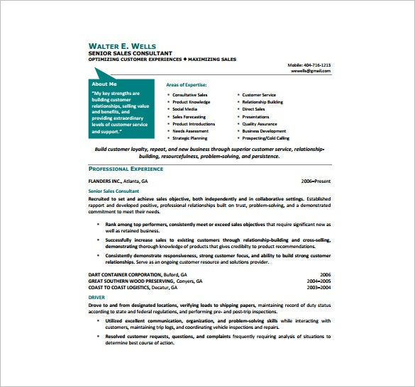 Senior Sales Consultant Resume PDF Free Downlaod  Sample Consultant Resume