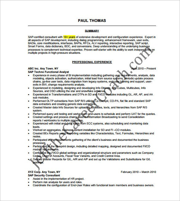 11 Sample Consultant Resume Templates Free Word Excel PDF – Sample Consultant Resume