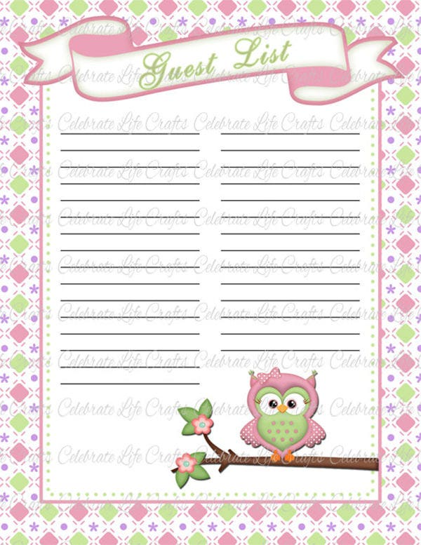 Baby Shower Guest List Template   Free Sample Example Format
