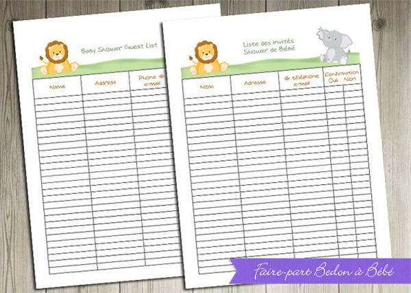 Baby Shower Guest List Template 8 Free Sample Example Format – Sample Guest List