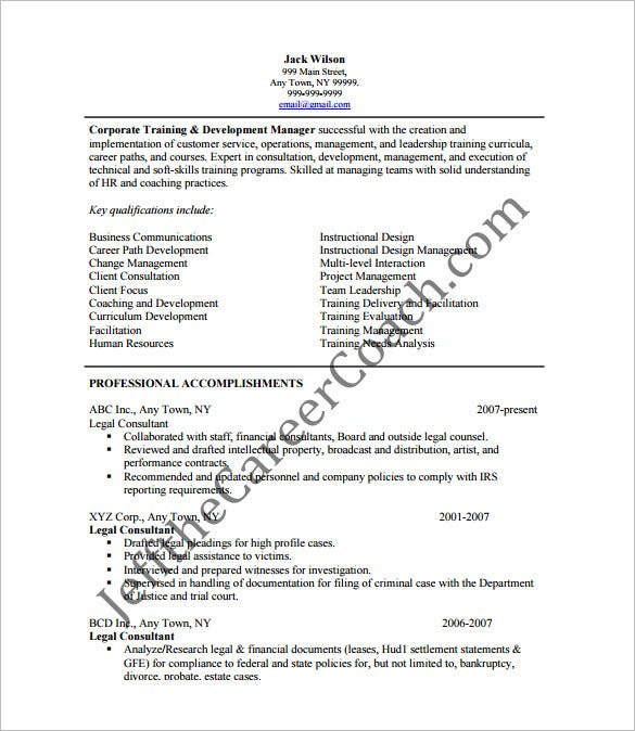 legal consultanting resume pdf free template