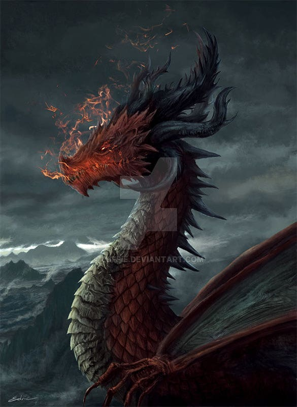 ancient red dragon fantasy art