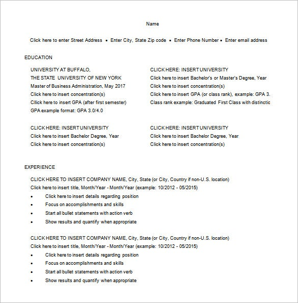 Master Of Business Administration Resume Template   Free Word