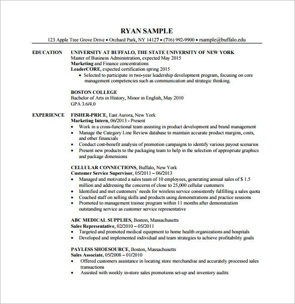 7 Master Of Business Administration Resume Template Doc