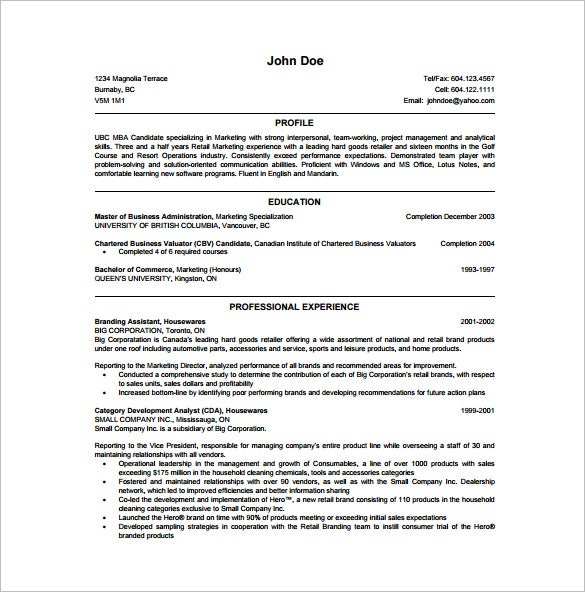 MBA Marketing Resume PDF Free Downlaod  Business Administration Resume