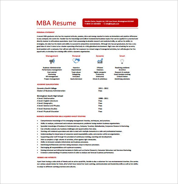 master of business administration resume template 8 free word