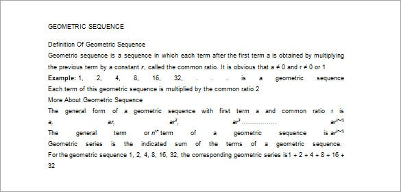 Geometric series worksheet doc