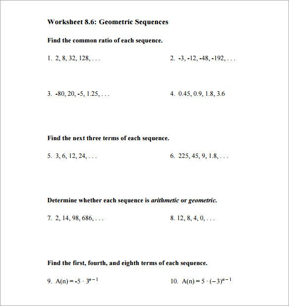 Arithmetic sequence worksheet with answer key