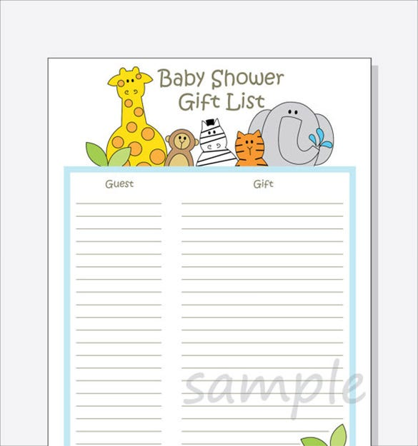 Baby Shower Gift List Template 5 Free Sample Example Format