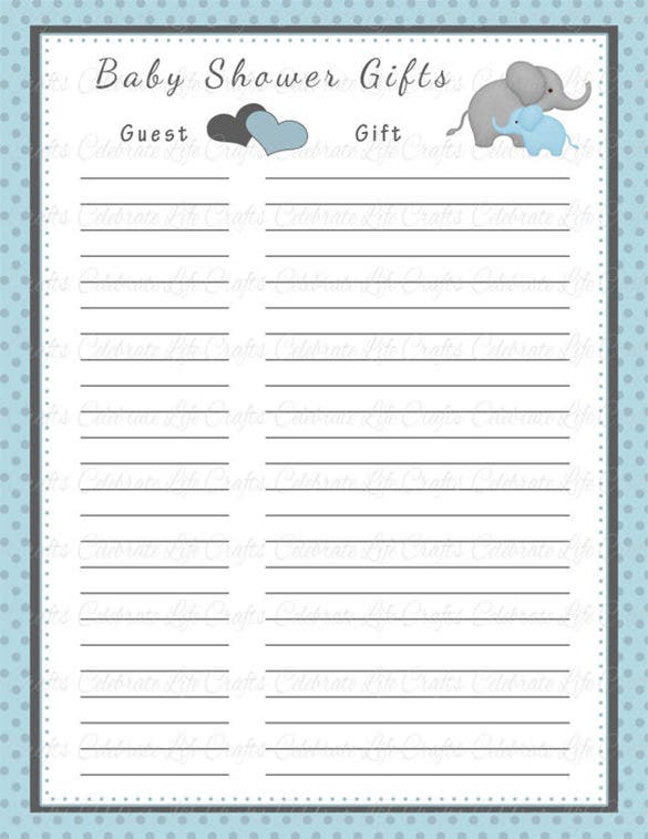 Baby Shower Gift List Template   Free Sample Example Format