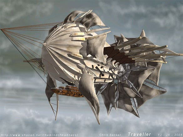 amazing air ship fantasy art