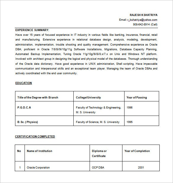 oracle database administrator resume word free download - Resume Excel Format Free Download