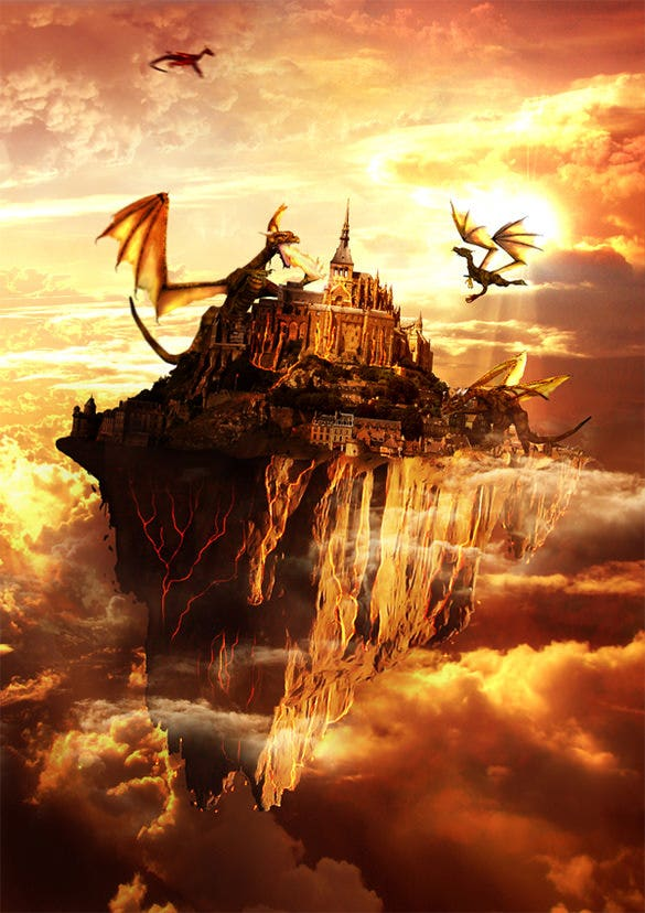 flying land on fire fantasy art