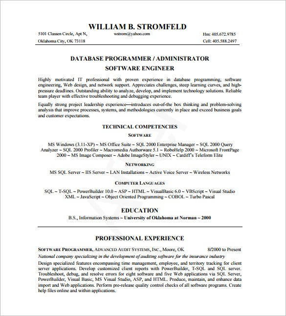 Database Administrator Resume Template   Free Word Excel Pdf