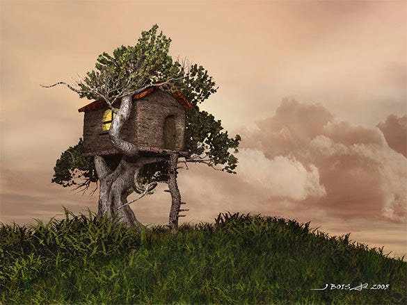 astonishing tree house fantasy art