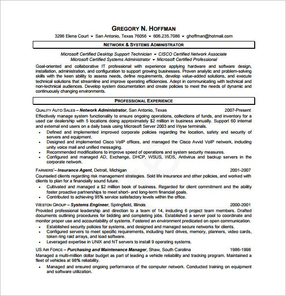 Database Administrator Resume Template – 8+ Free Word, Excel, Pdf