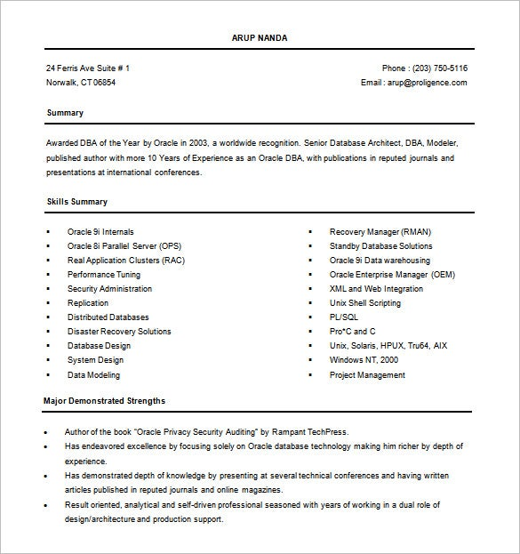 experienced database administrator resume free word - Oracle Dba Resume Examples