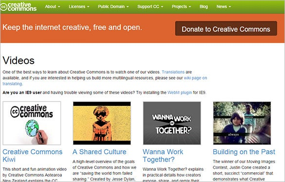 creative commons website for vedios