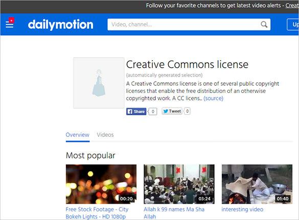 dailymotion creative common vedios website