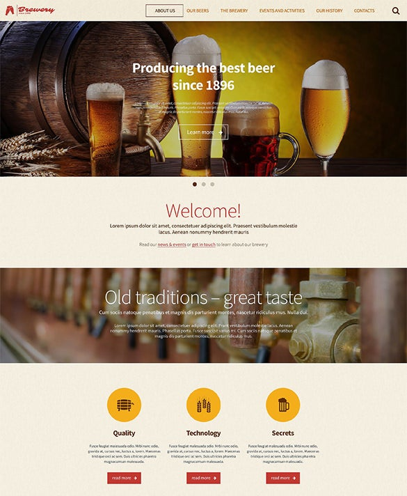 html5 wordpress theme for a brewery
