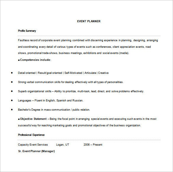 Superbe Event Planner Resume Word Free Download