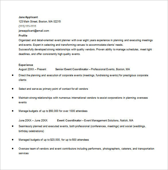 corporate event planner resume in ms word