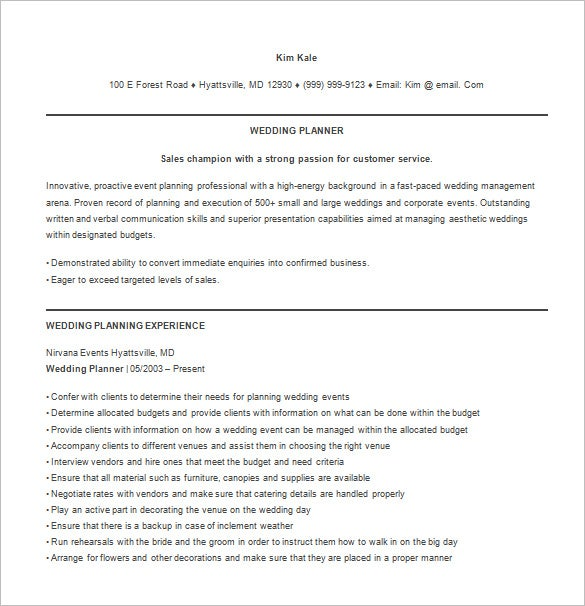 wedding event planner resume free word template