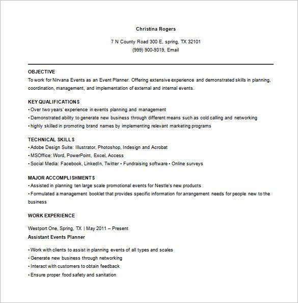 event planner resume for party free word download