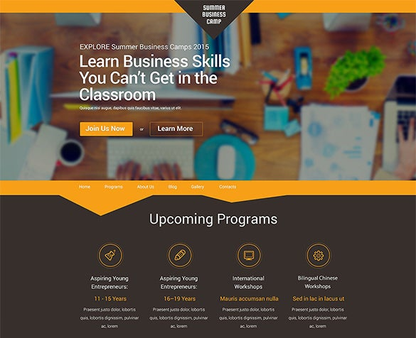 business camp wordpress theme