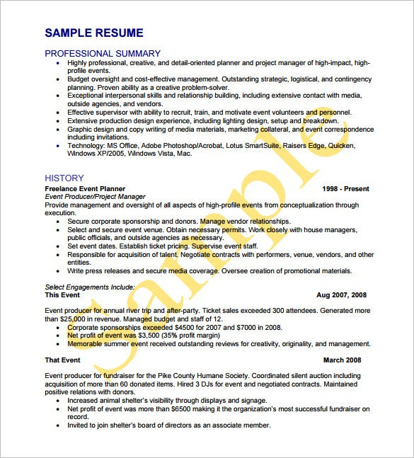freelance event planner resume free pdf template