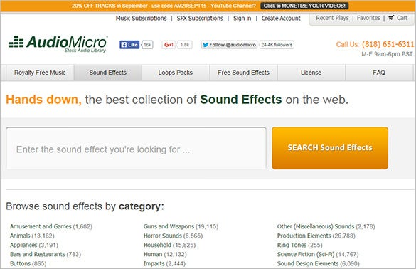 audiomicro best free sound effects website