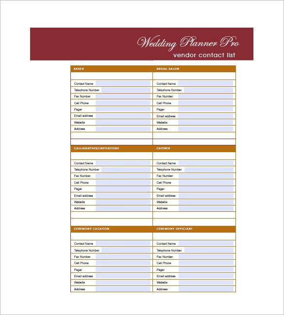 Wedding Guest List Template   Free Word Excel Pdf