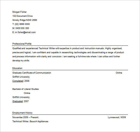 free resume writer download
