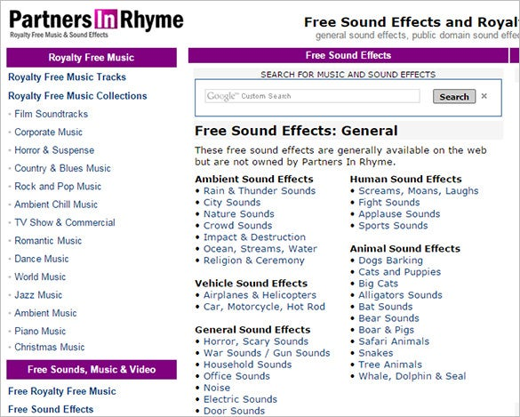 partners in rhyme free sound effects website