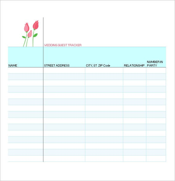 Wedding Guest List Template 10 Free Sample Example Format – Sample Guest List