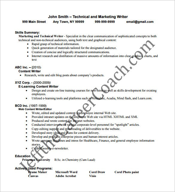 Writer Resume Template – 14+ Free Word, Excel, PDF Format Download ...
