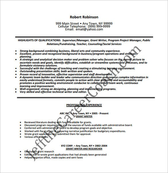 grant writer resume free pdf download