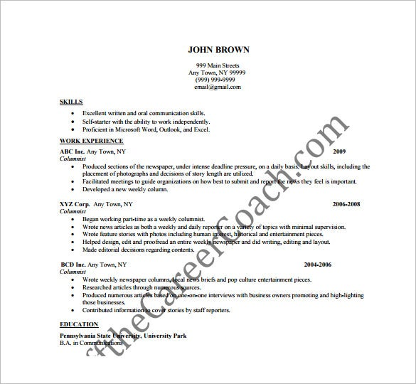 columnist writer resume free pdf template