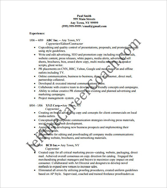 Copywriter Resume PDF Free Template Download  Copywriter Resume