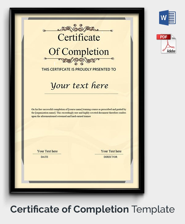Attractive Completion Certificate Template