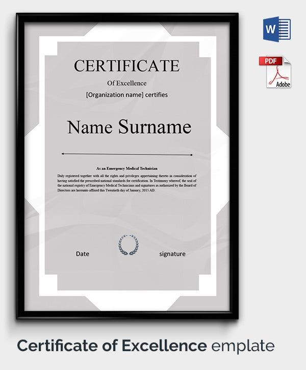 Certificate Template 50 Free Printable Word Excel PDF PSD – Sample Certificate of Excellence